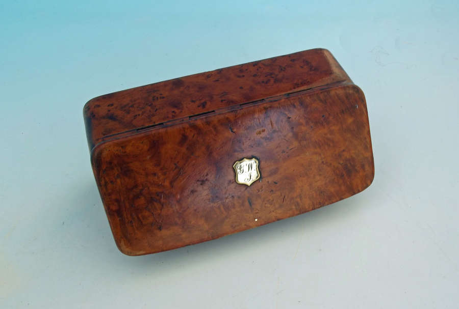 Antique 19thc Treen Burr Elm Tobacco Box Initialed GWJ.  English.
