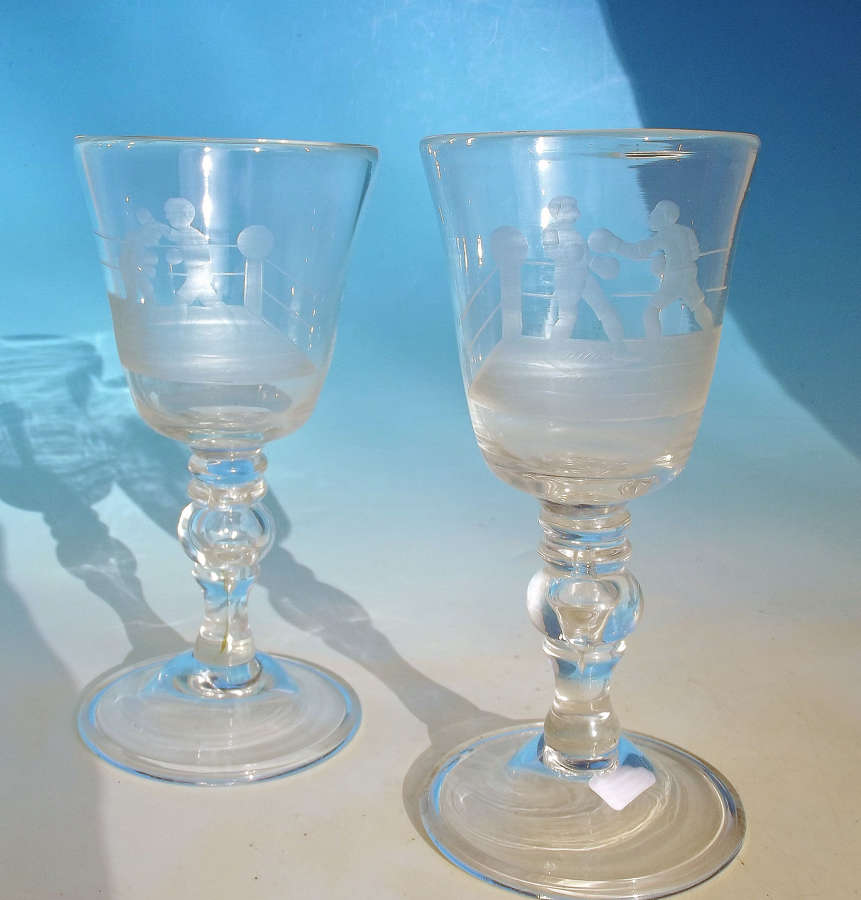 Antique Glass Pair Of Late 19thc