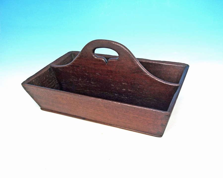 Antique Oak 18thc Shaped Cutlery Tray. English. C1780-90