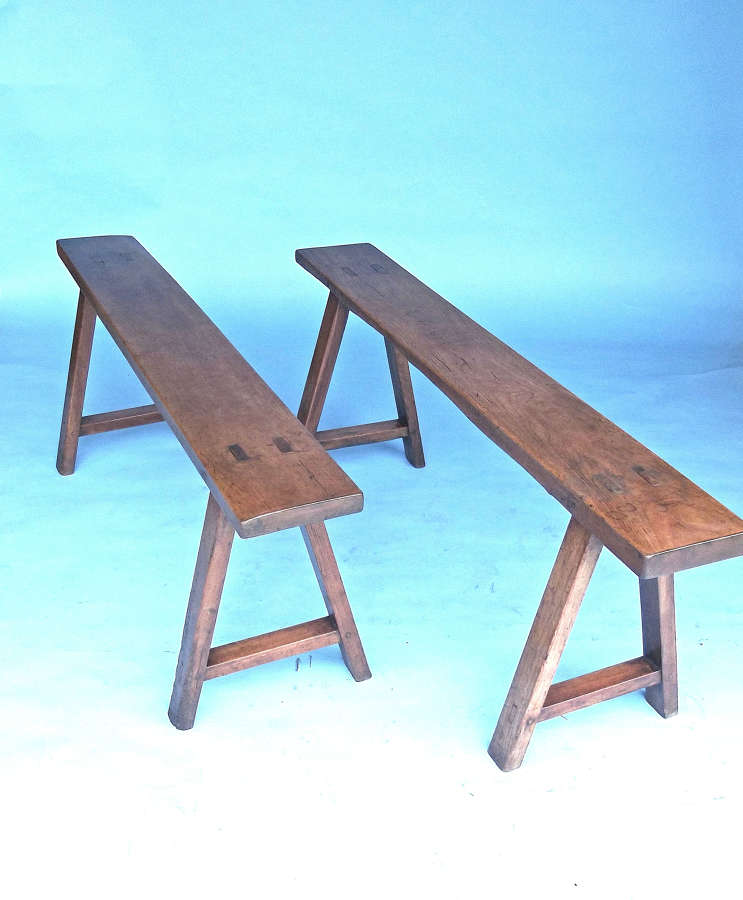 Pr Of 19thc Small Country Furniture Fruitwood Window Benches. French.
