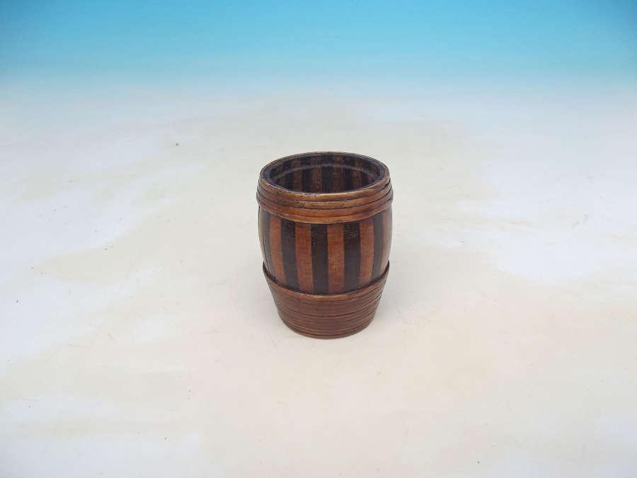 Antique 19thc Treen Staved Willow Bound Small Barrel . Scottish