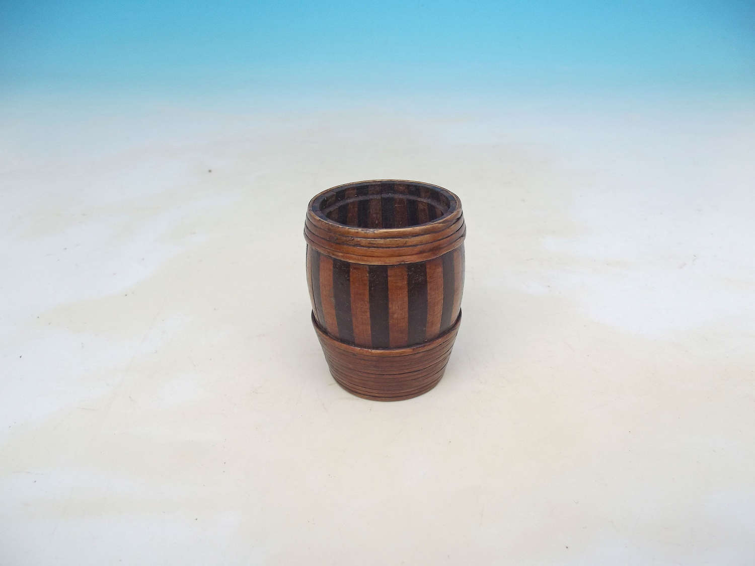 Antique 19thc Treen Staved Willow Bound Small Barrel . Scottish