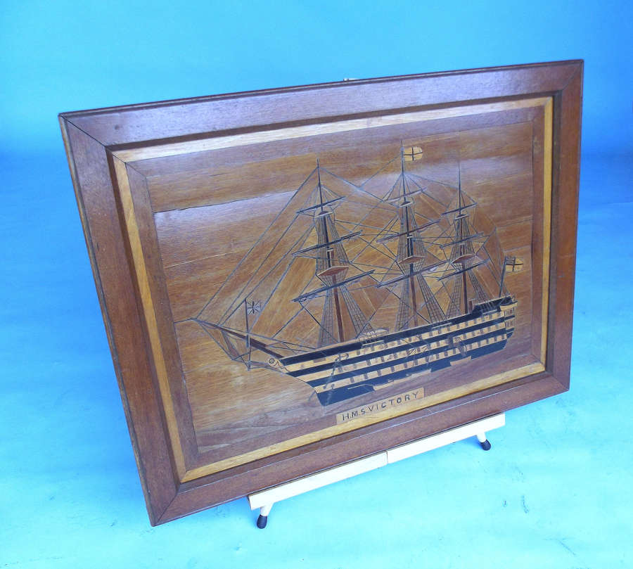 Antique 19thc Marquetry Picture Of Nelson's Flagship HMS Victory.