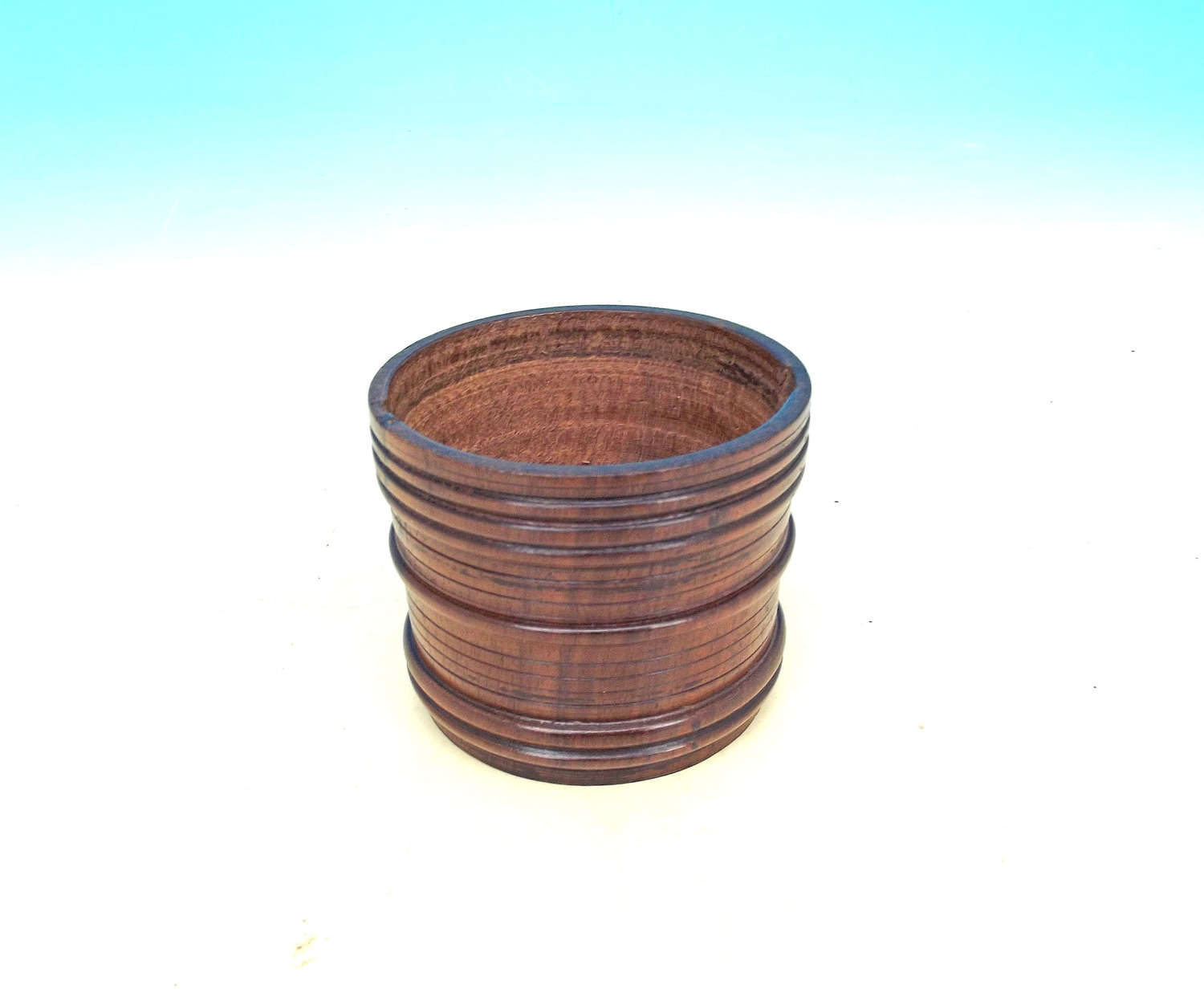 Antique Treen 19thc Fruitwood Banded Small Pot. English. C1840-60.
