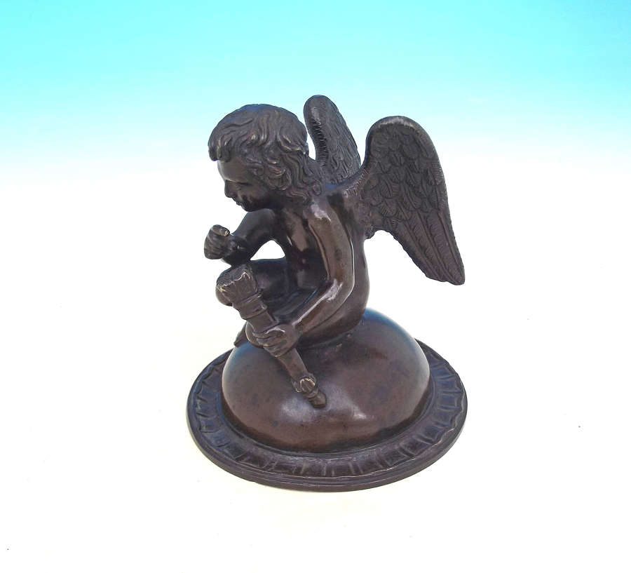 19thc Bronze Angel Holding A Quiver Full Of Arrows.  Continental