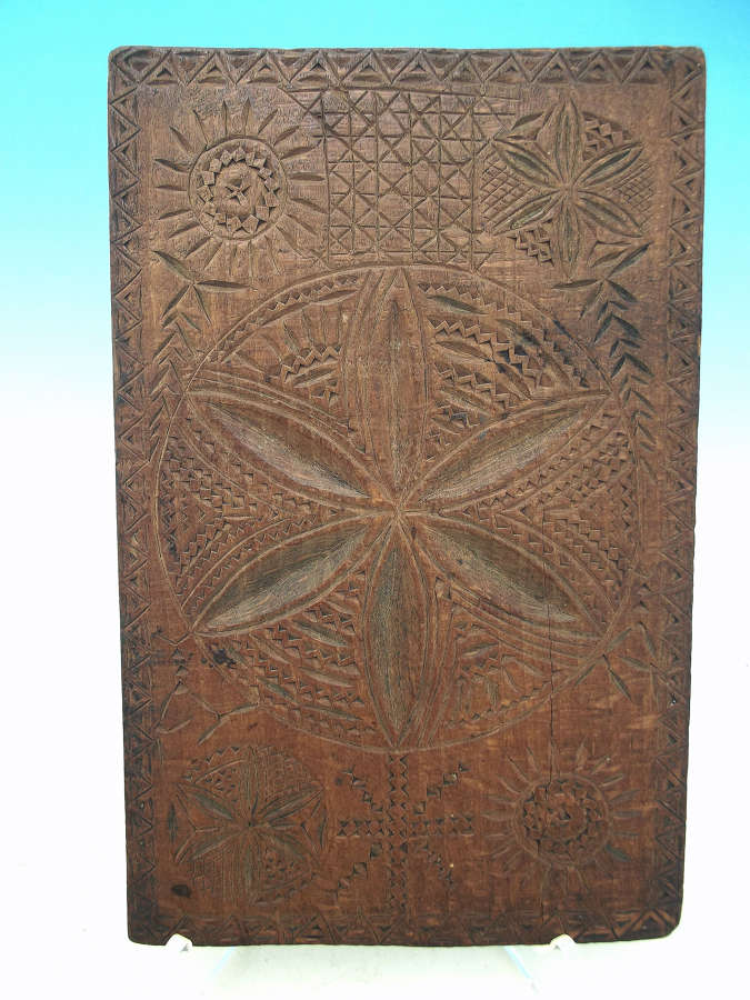 Antique Treen 19thc Beech Carved Lace Board. ER 1886