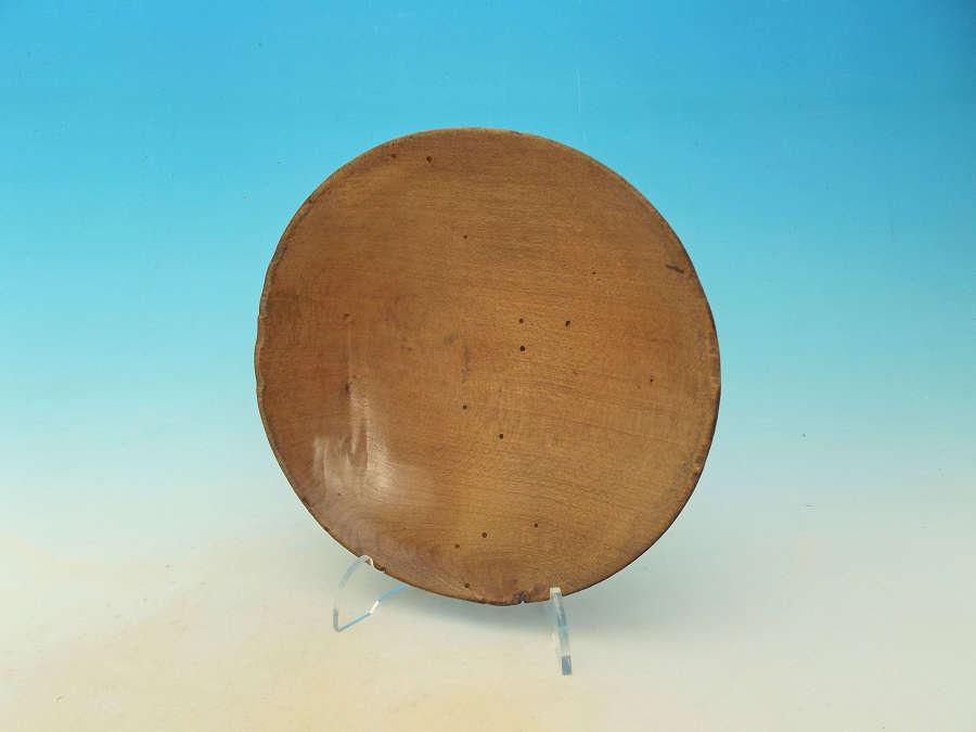 Antique Treen 19thc Sycamore Cream Skimmer. English. C1840-60