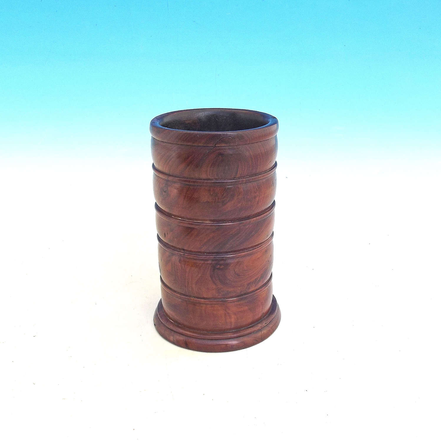 19thc Treen Yew Wood Ring Turned Spill Vase.  English  C1820-40