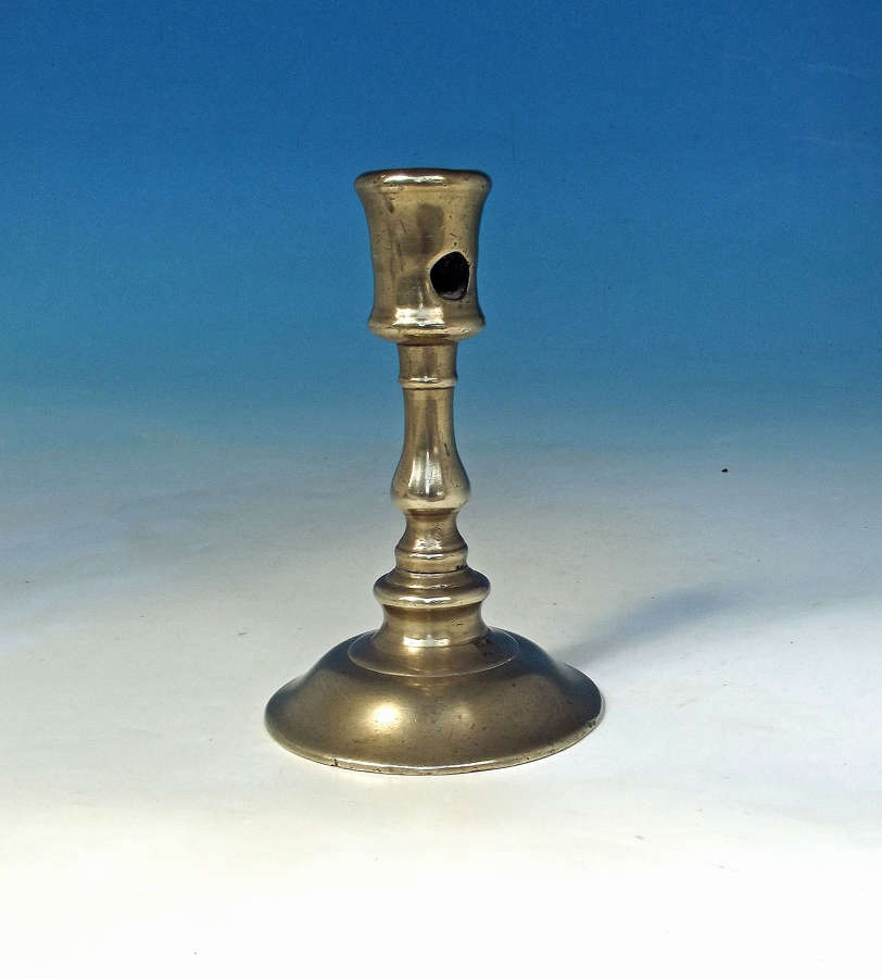 16thc Early Metalware Brass Single Candlestick . French. C1550-80