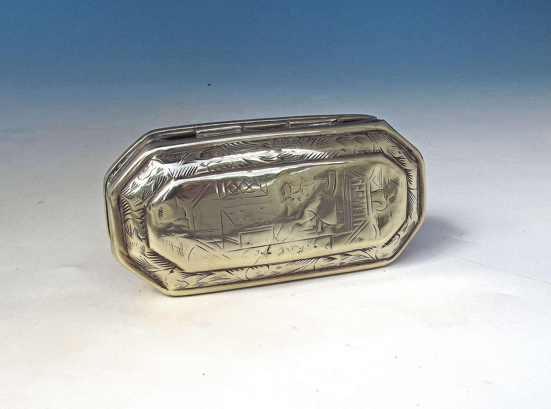 Early Metalware 19thc Brass Tobacco Box Engraved J.Thomas - Welsh 1802