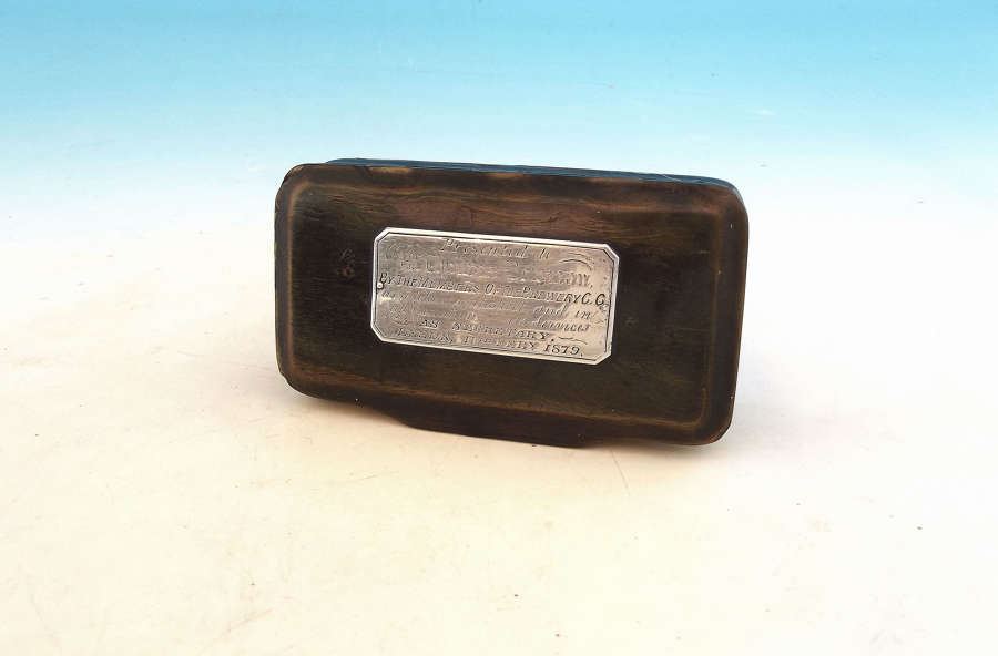 Antique Collectables 19thc Horn Snuff Box - Brewery C.C Dated 1879
