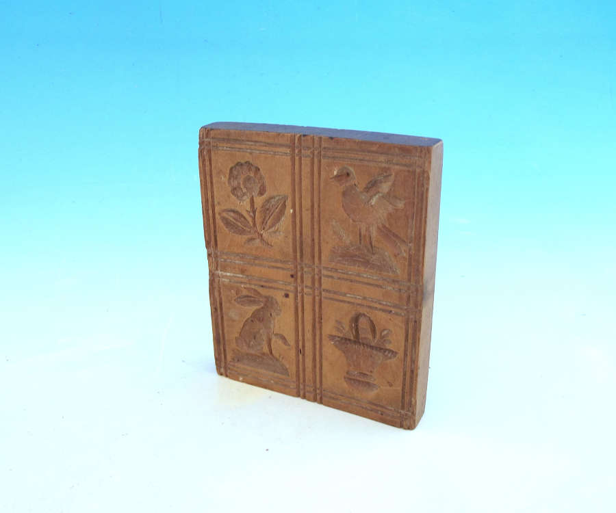 Antique Treen 19thc Sycamore Biscuit Mould With Four Carved Squares.