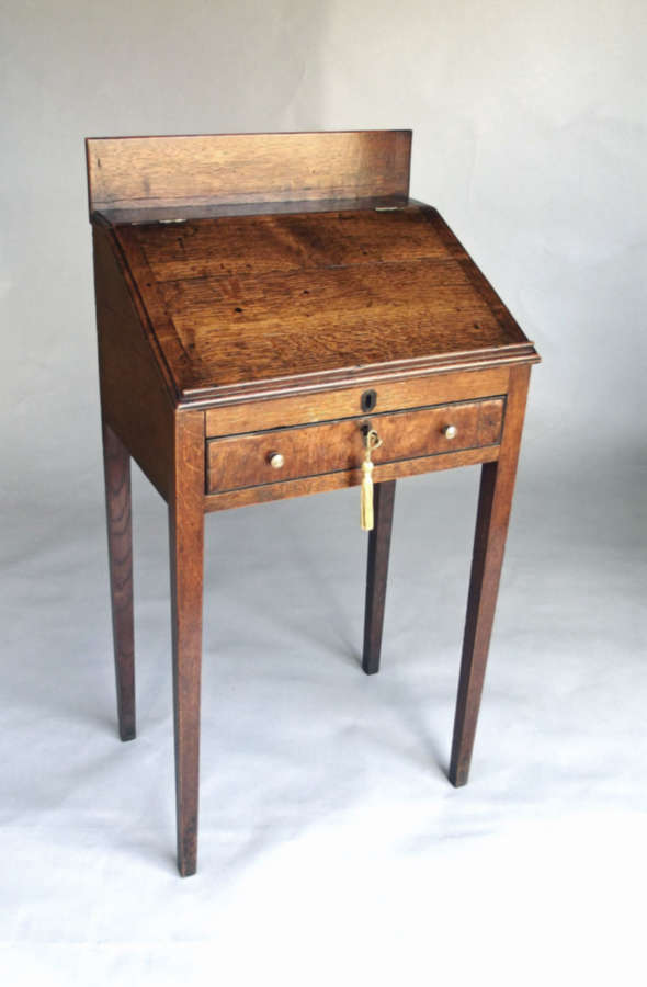 A Small 18thc Oak Desk With Fitted Burr Fronted Drawers.  Welsh. C1780