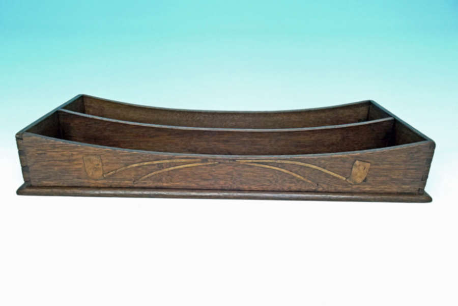 Antique Treen 19thc Oak Inlaid Churchwardens Pipe Tray.  English.