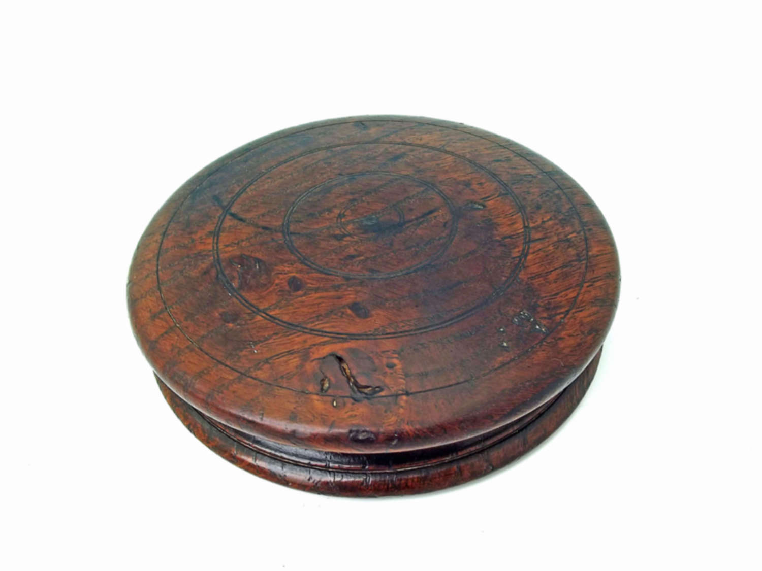 Antique 19thc Large Treen Turned Oak Box For Coasters.  English. C1840