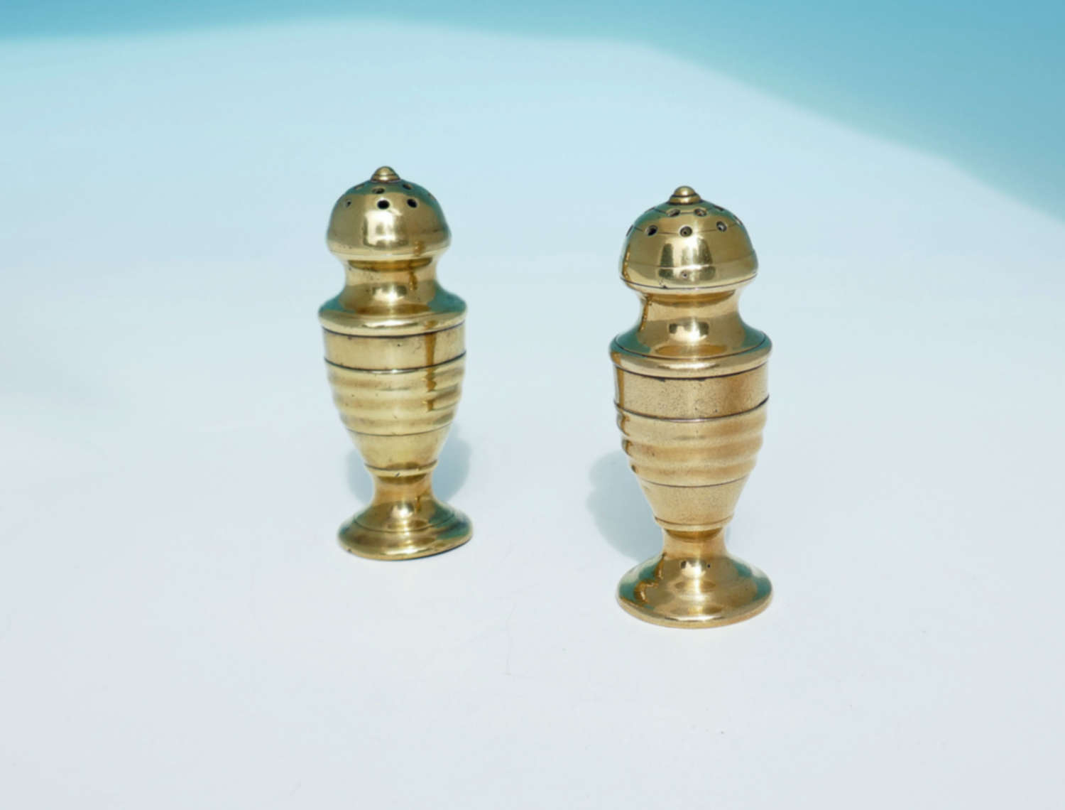 Antique Metalware Pair Of Late 18th Brass Salt / Pepper Muffineers.