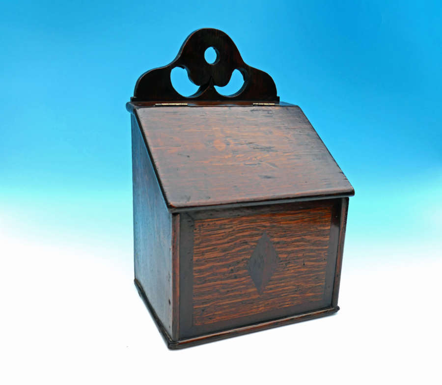 Antique Late 18thc Oak Inlaid Salt Box. Welsh. C1780-90