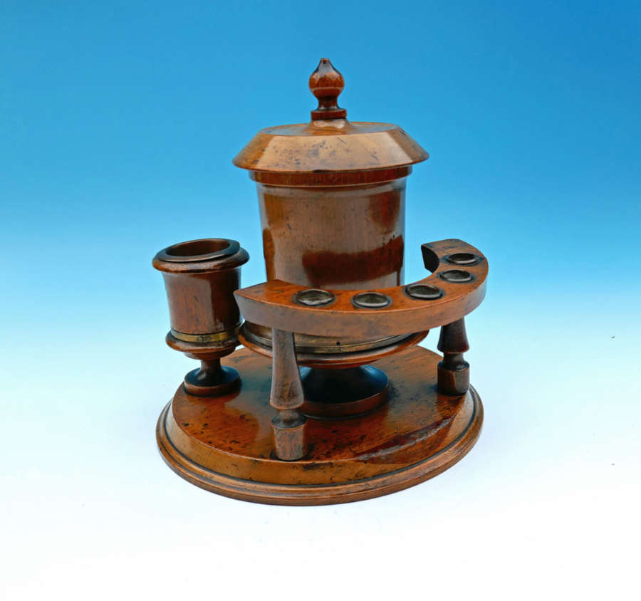 A 19thc Treen Turned Beech Smokers Companion Set.  English. C1840-60