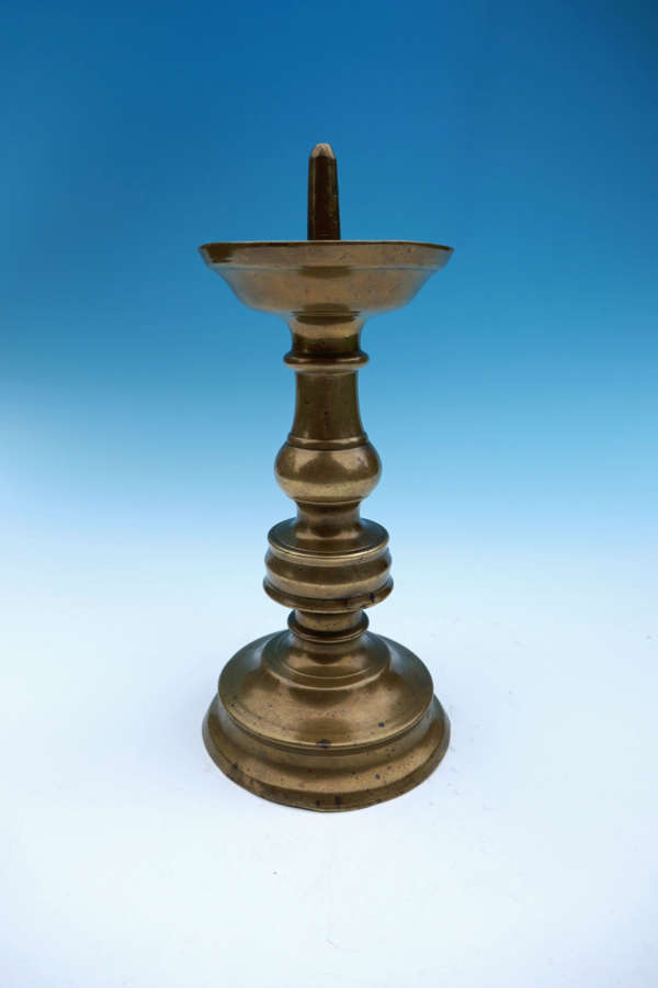 Antique 16thc Brass Pricket Candlestick. Flemish. C1490-C1520
