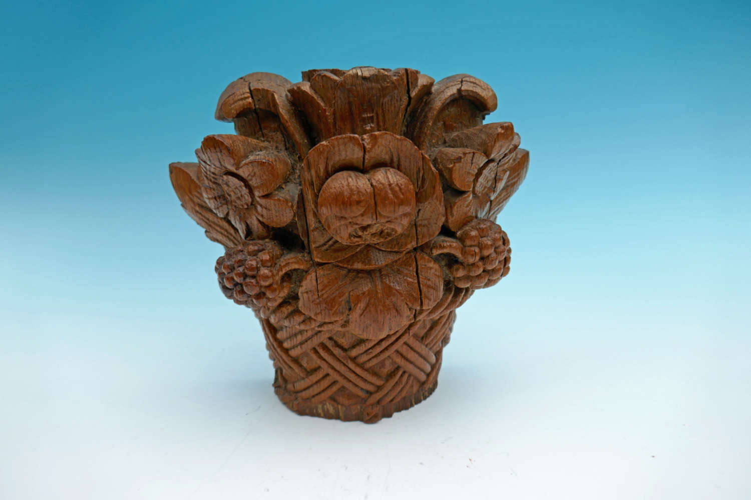 Antique 17thc Oak Continental Carved Flowers In A Basket. French