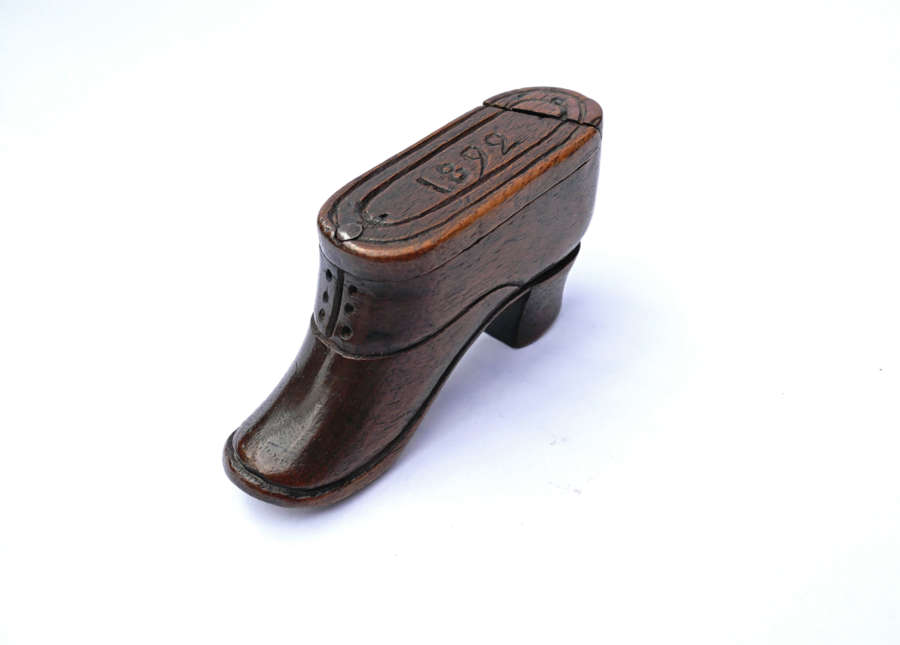 Antique 19thc Fruitwood Boot Snuff Box Dated 1892.  Continental.