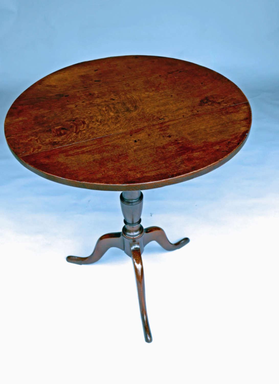 Antique Period Oak 18thc Tilting Tripod Table. English C1770-80.