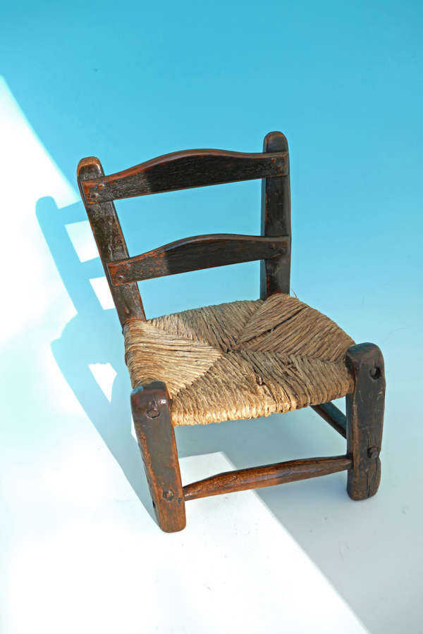 Antique Country Furniture 18thc Childs Rush Seated Ladderback Chair.