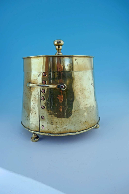 Antique Metalware Early 18thc Brass Seamed Peat / Ash Bucket. Dutch.
