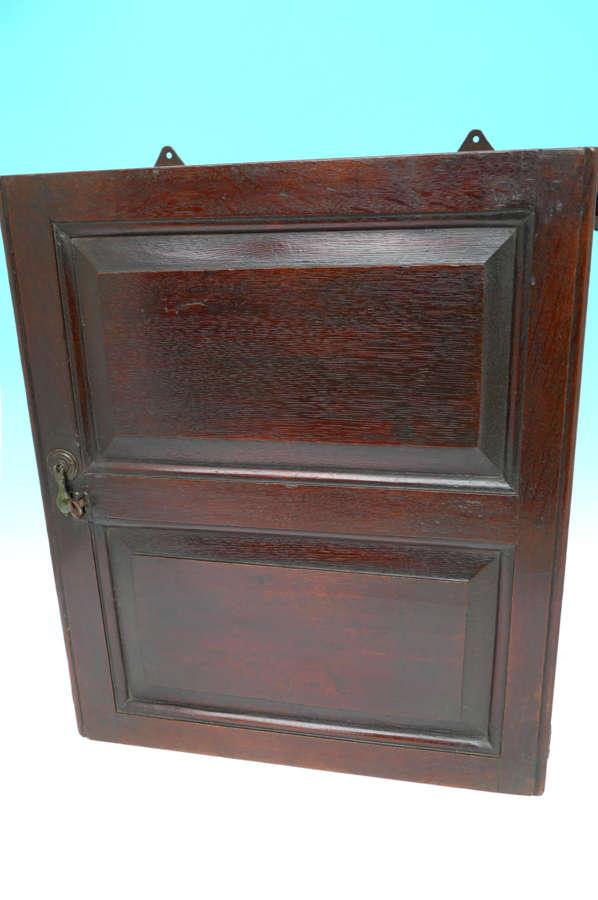 Antique Period Oak 17thc Joyned Mural Spice Cupboard. English C1680