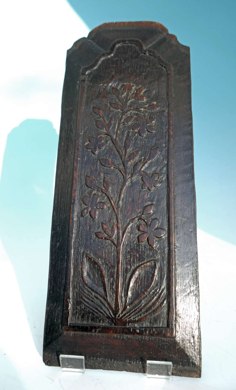 Antique 17thc Oak Carved Panel Showing