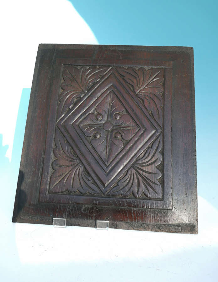 Antique 17thc Oak Coffer Panel Carved With Leaf And Lozenge Decoration