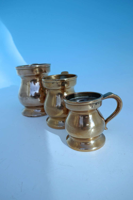 Three Antique Metalware 19thc Imperial Bell Metal Graduated Measures.