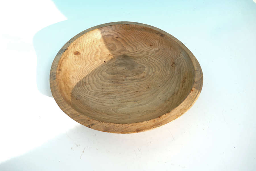 Antique Treen Early 19thc Ash Turned Dairy Bowl.  English C1820-40