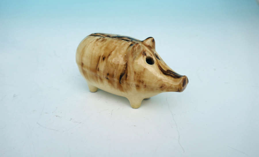 Antique Pottery 19thc Slip Glazed Money Box In The Form Of A Pig.