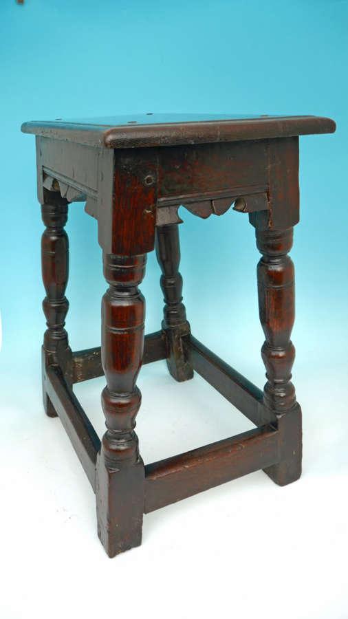 Antique 17thc Early Oak Furniture Joyned Stool.   English C1620-30