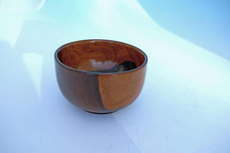 Antique Treen 19thc Lignum Vitae Wool Bowl.   English C1860-80