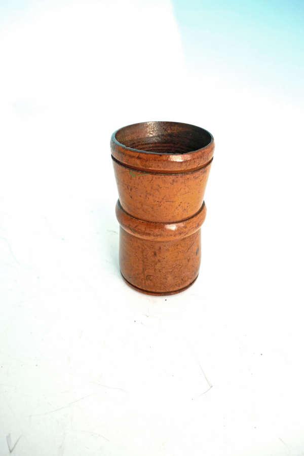 Antique Treen 19thc Fruitwood Turned Dice Shaker.  English C1870-90