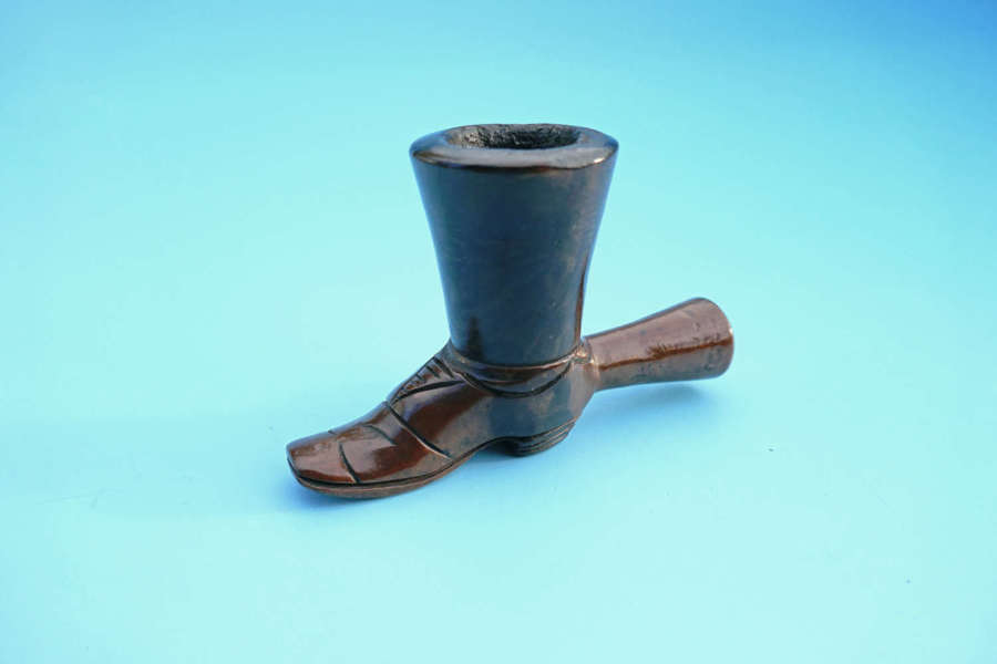 Antique Treen Early 19thc Boxwood & Walnut Pipe In The Form Of A Boot.