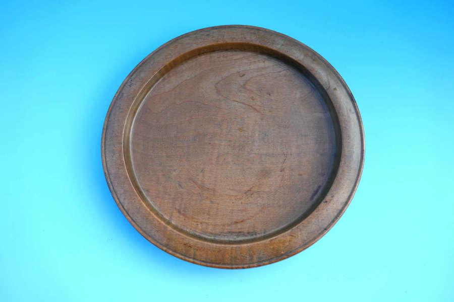 Antique Treen 18thc Sycamore Broad Rimmed Platter . Welsh C1780-C1800