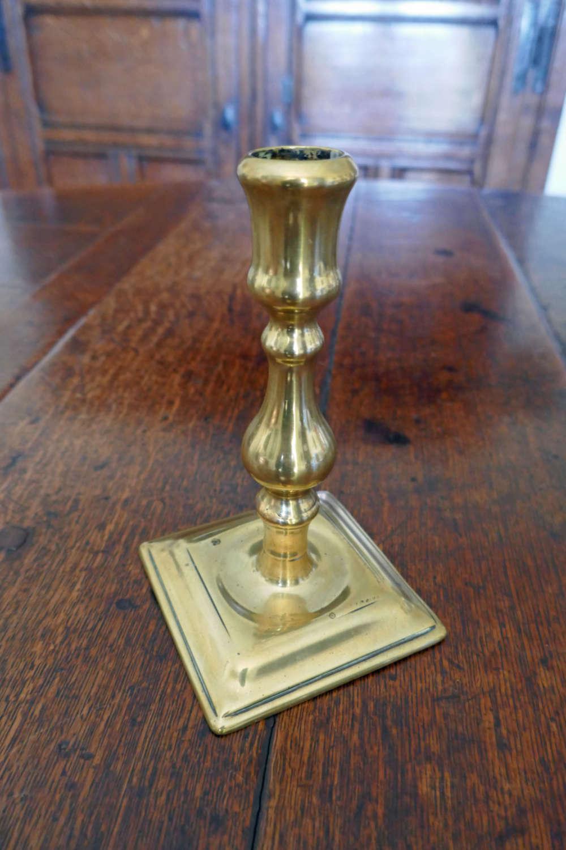 Early 18thc Metalware Queen Ann Single Brass Candlestick . English.