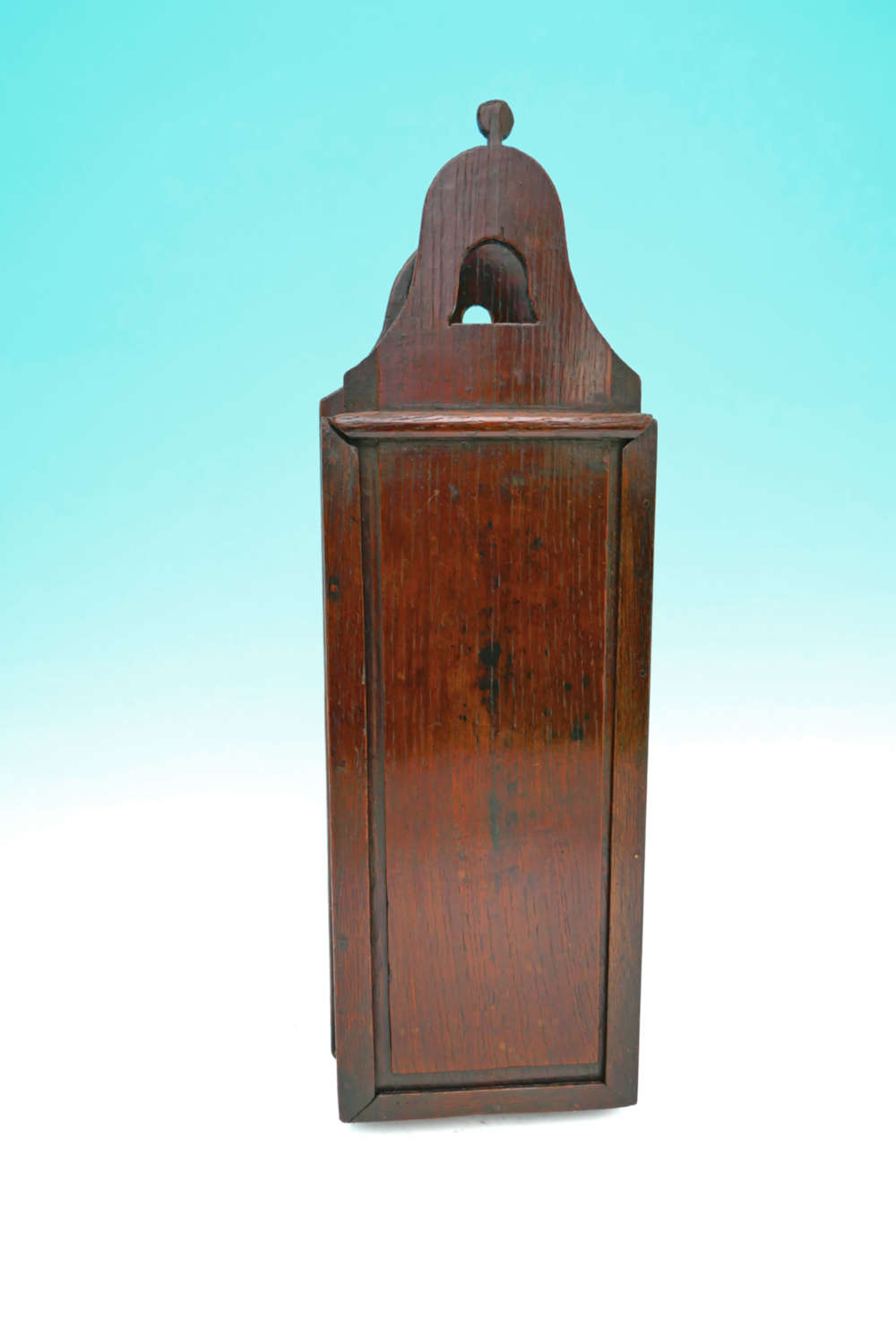 Antique 18thc Oak Hanging Wall Candlebox With Rare Bell Shape To Lid.
