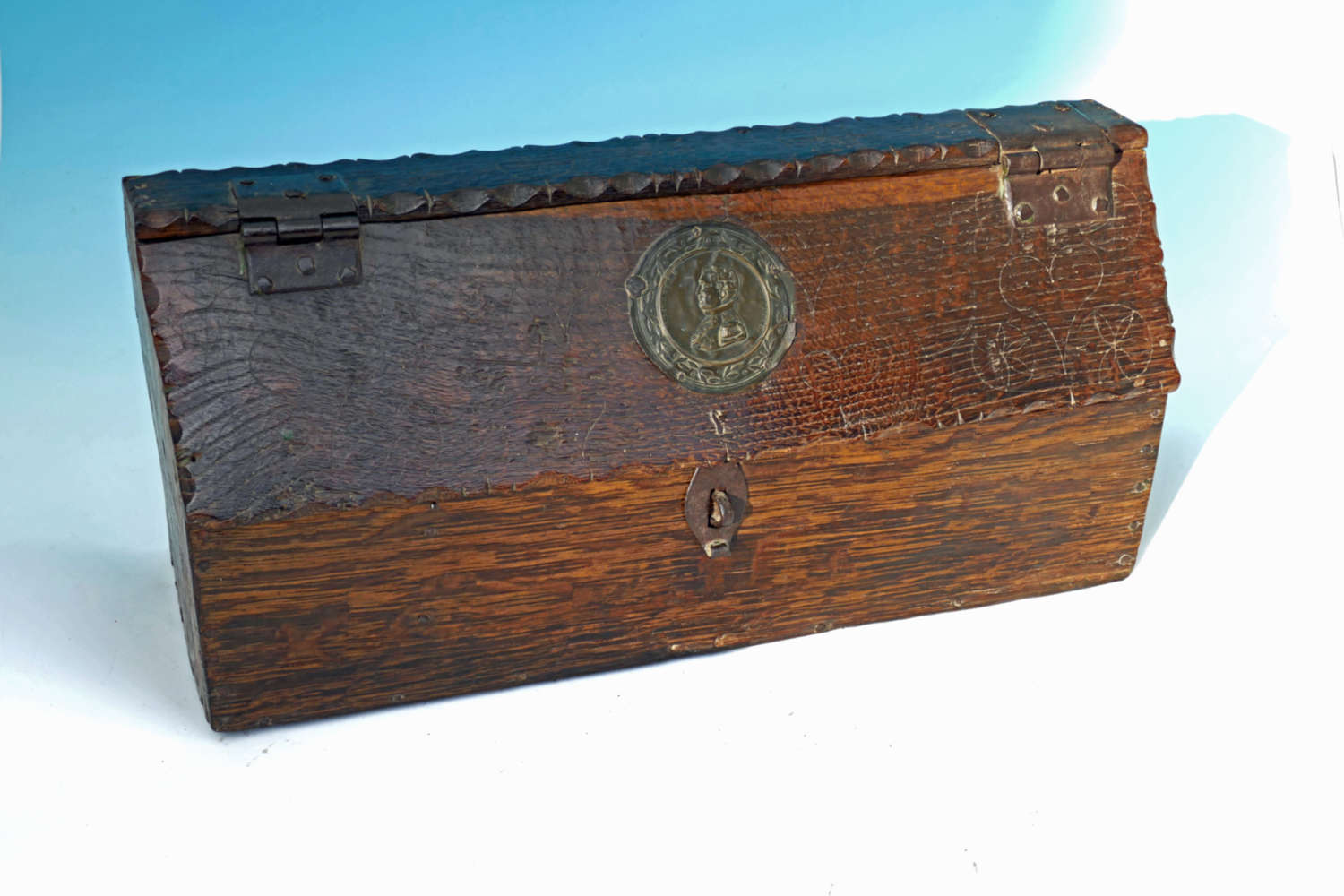 Antique Oak Late 18thc Shipwrights Toolbox Dated 1827 .French C1780-90