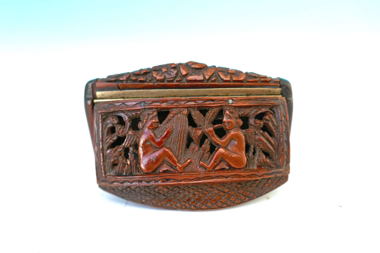 Antique Treen 19thc Coquilla Nut Snuff Box / Vinaigrette. French C1840