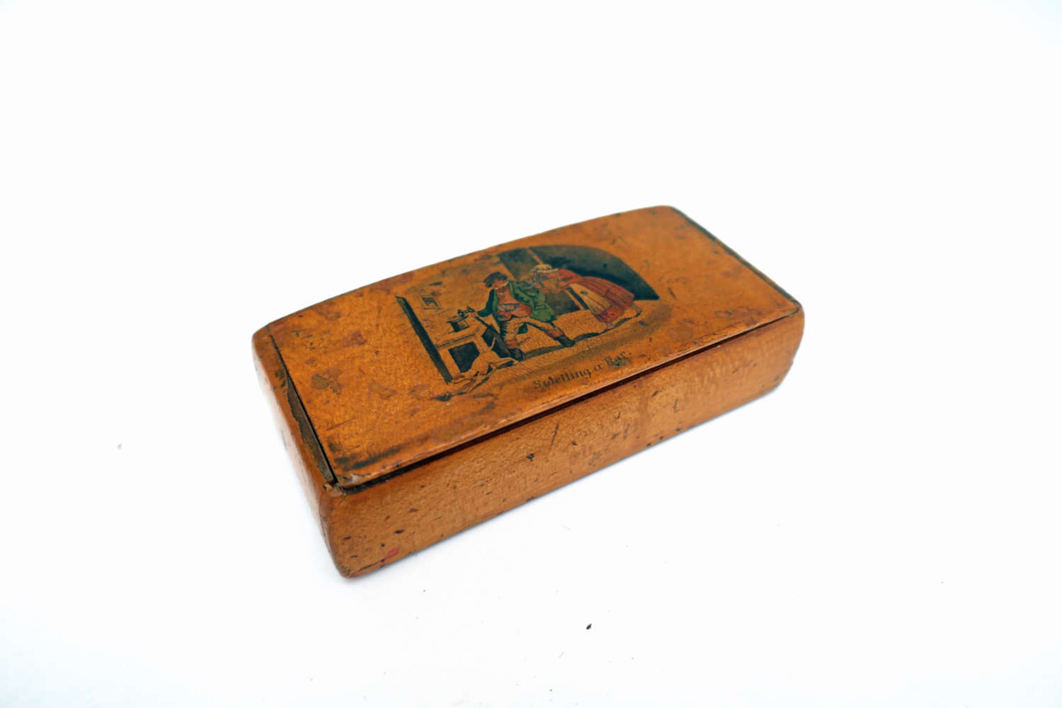 Antique Early 19thc Treen Mauchline Ware Snuff Box