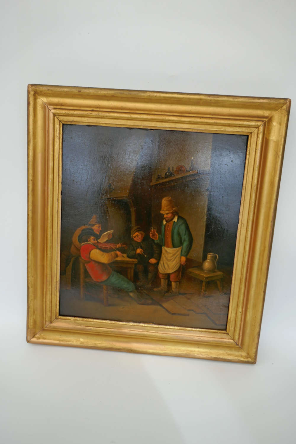 Antique 19thc Oil On Oak Panel Of A Tavern Scene . Dutch C1870-90