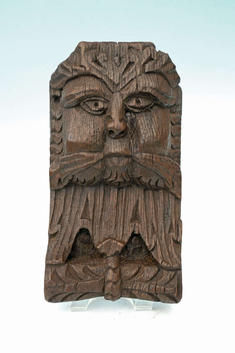 Early 15thc Antique Oak Carving Of The Green Man.  English C1450-80.