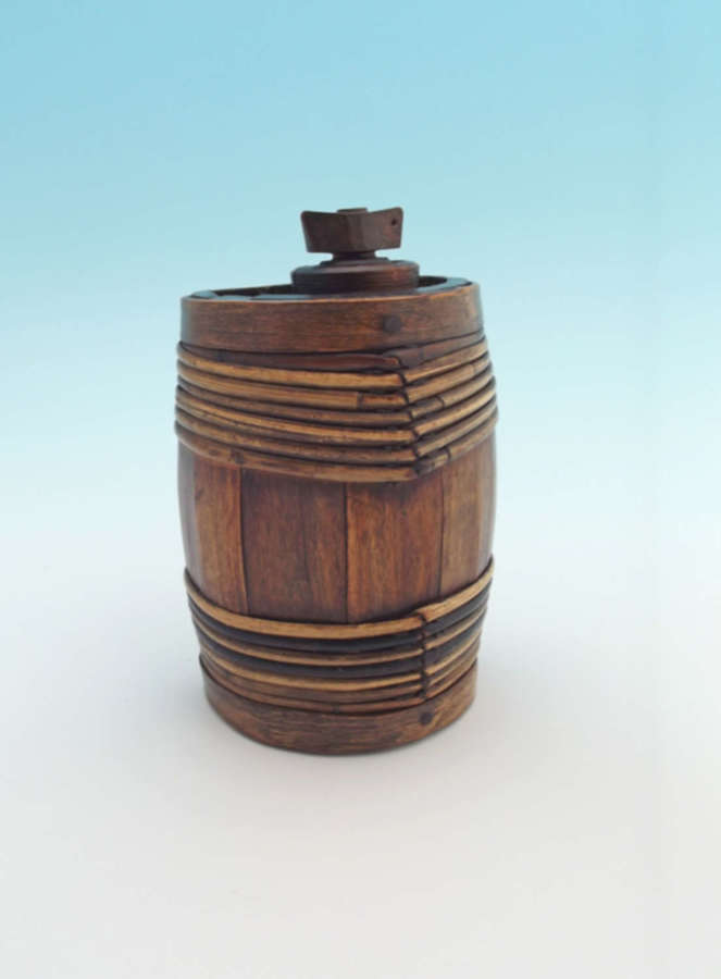 Antique 19thc Treen Ash Costral Banded In Willow.   Scottish C1840-60