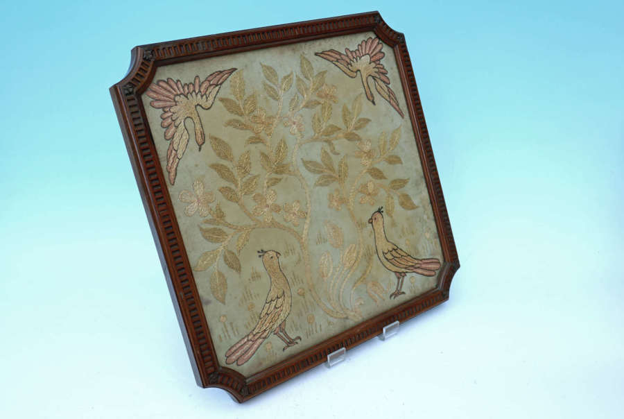 Early 19thc Regency Needlework On Silk Picture . English C1800-20