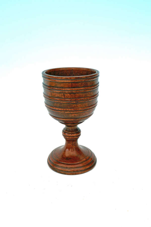 Early Treen 18thc / 19thc Fruitwood Turned Drinking Goblet .English
