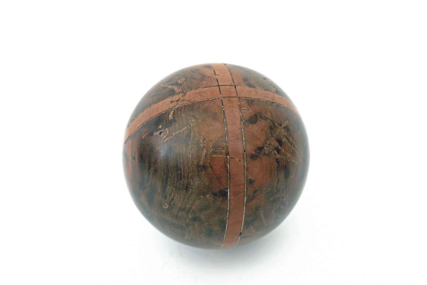 Antique 19thc Treen Yew Wood Inlaid With Boxwood Carpet Bowl.